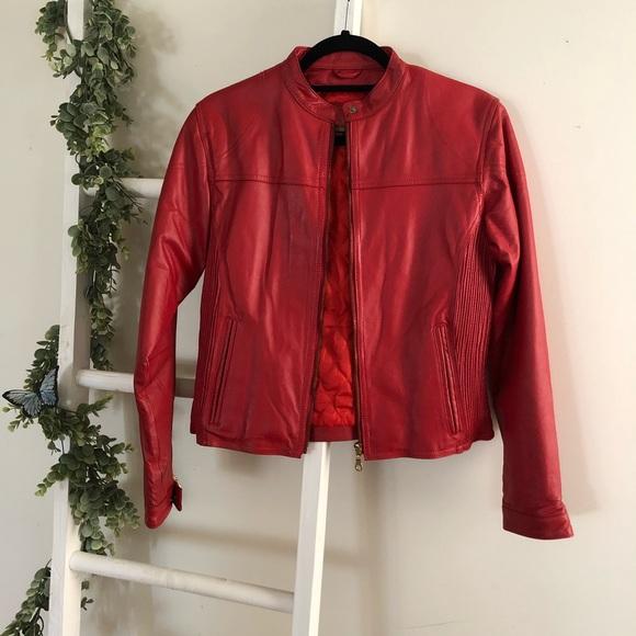Vintage 100% Leather bomber jacket red